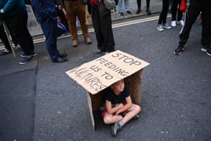 Dublin, IrelandA young boy attends a protest against the rising cost of housing at a rally called 'Winter of Housing Discontent' in front of government buildings in the Irish capital.