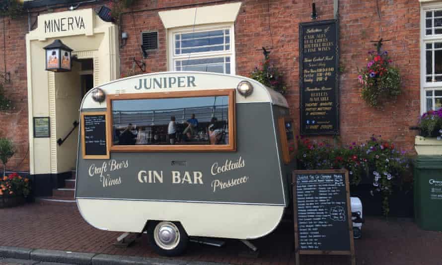 Gin bar at the Minerva pub on Hull's pier.