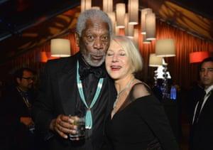 Morgan Freeman and Helen Mirren at the Weinstein-Netflix party.