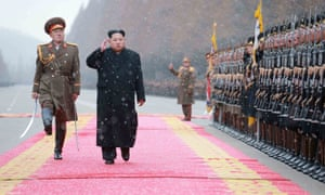 North Korean leader Kim Jong-un saluting during a visit to the Ministry of the People's Armed Forces in January.