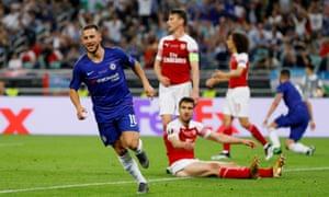 Chelsea's Eden Hazard celebrates scoring their fourth goal.