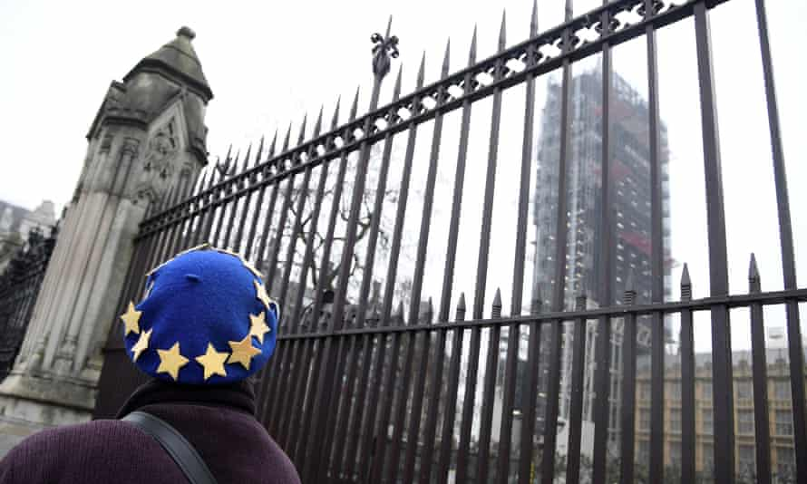 An EU supporter looks towards the Houses of Parliament.