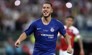 Eden Hazard of Chelsea celebrates after scoring his team's third goal.