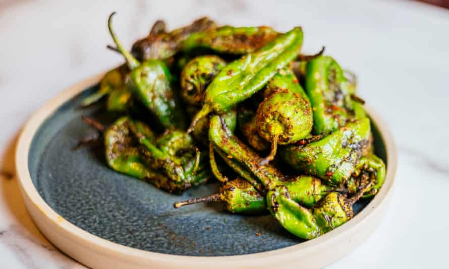 'Harrisa-spice dusted': Padrón peppers.