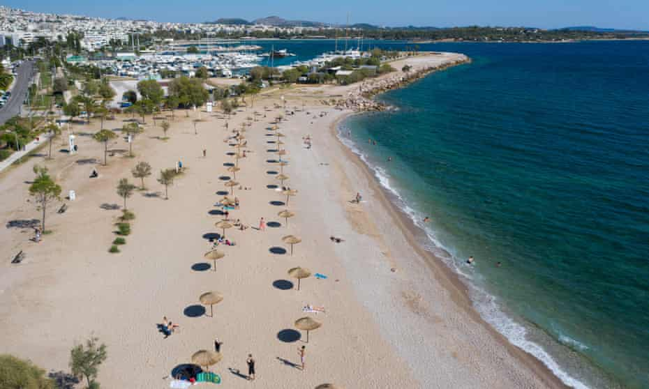 A virtually empty beach south of Athens, Greece.