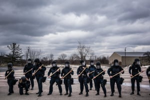Police cadets train for civil unrest at the Mott Police Academy in 2016.