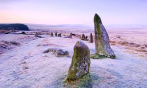 Scorhill stone circle on Dartmoor National Park on a frosty morning