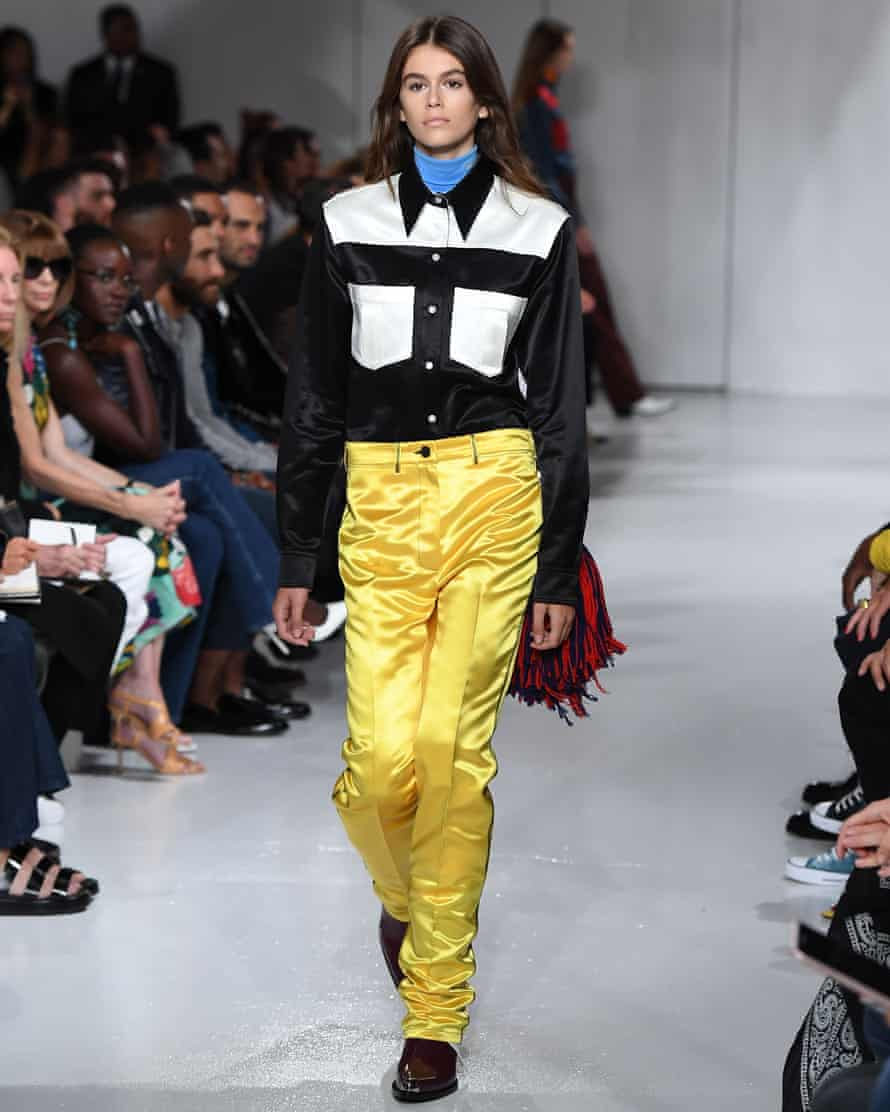 Model of the year nominee Kaia Gerber walking for Calvin Klein, which is headed up by Designer of the year nominee Raf Simons.