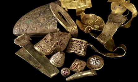 The Staffordshire Hoard, on show at the Potteries Museum.