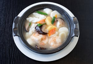 'Chinese food as designed by The White Company': mixed seafood and tofu in a clay pot.