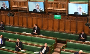 Physically distanced MPs in the Commons on Monday