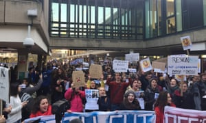 Students at the University of Bath protest over the pay of vice-chancellor Glynis Breakwell.