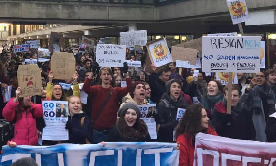 Students at the University of Bath protest at the retirement terms of vice-chancellor Professor Dame Glynis Breakwell - the UK's highest paid vice-chancellor.