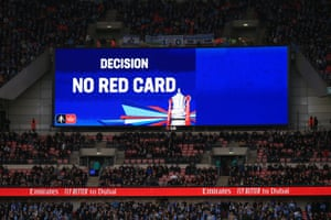 The VAR decision is displayed on a large screen.