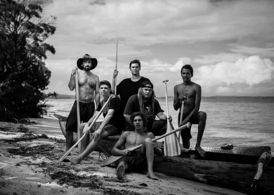 The Saltwater Boys. Back row: Benjamin Allmon, Jarulah Slabb and Malachi Urquhart. Middle row: Kyle 'Smitty' Matthews and Banahm Slabb. Front: Bijang Slabb