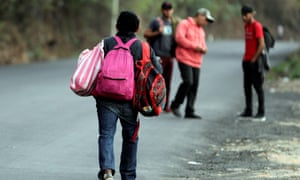Migrants leave a frontier checkpoint, in Agua Caliente, Honduras, on 1 February 2020. 'In many cases, it's clear that migration is the only possible way out,' says the MSF general coordinator in Mexico.