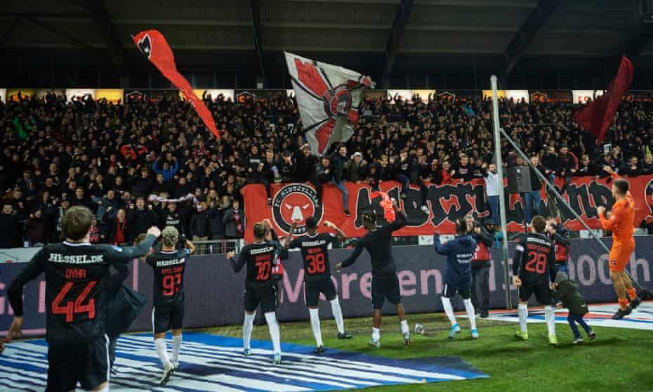 Midtjylland celebrate their win over Copenhagen in November last year