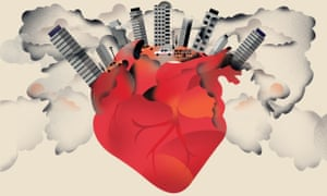 Illustration of heart pumping out urban smog, by Nathalie Lees