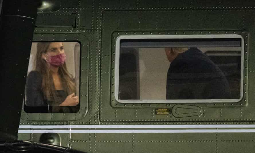 White House adviser Hope Hicks with Donald Trump on board Marine One last month.