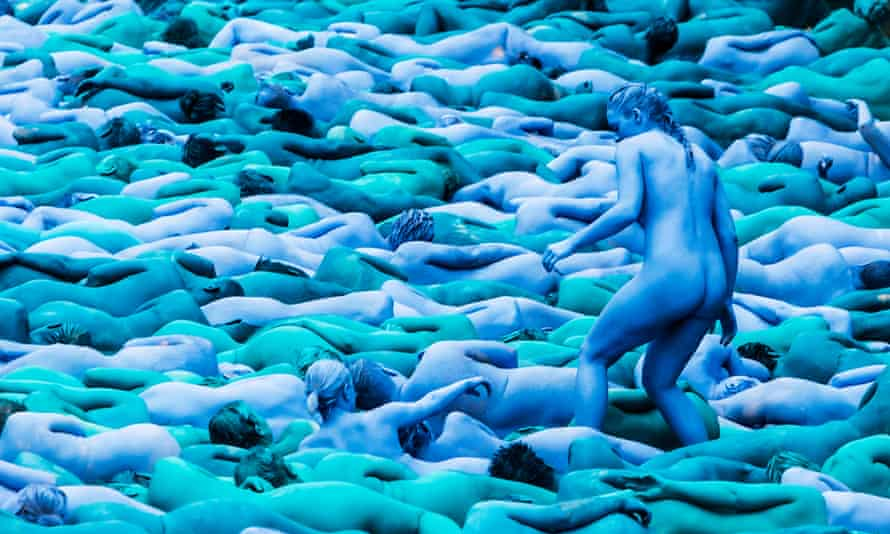 People take part in an installation titled Sea of Hull by artist Spencer Tunick in Hull.
