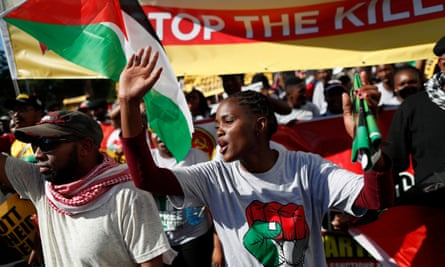 South Africans protest in Cape Town about the killing of Palestinians in Gaza by Israel's defence forces.