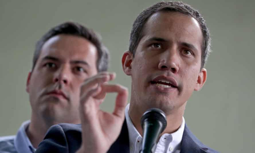 Juan Guaidó speaks during a press meeting in Caracas, Venezuela on 21 March.