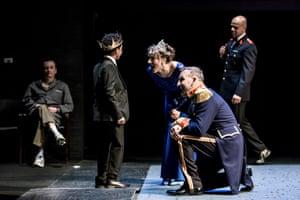 Child's play… Kyle Barton (Fleance), Christopher Eccleston (Macbeth) and Niamh Cusack (Lady Macbeth) at the RSC.