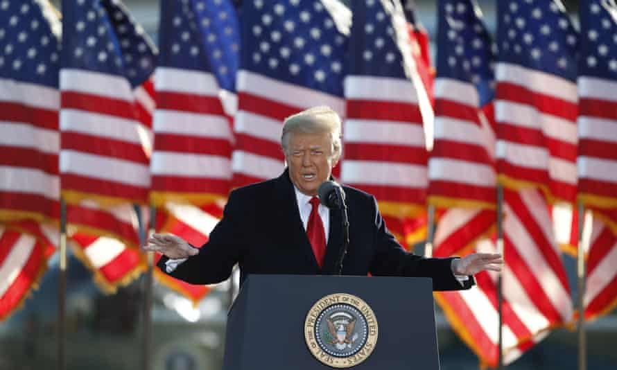 Donald Trump addresses a crowd before the insurrection at the US Capitol, the event that led to his suspension from Facebook.