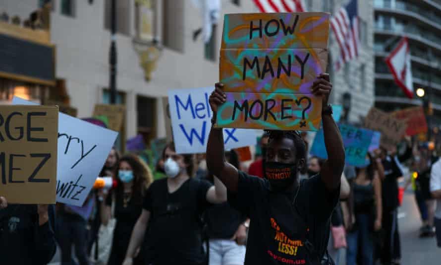 Black Lives Matter demonstrators in New York, New York, on 13 September.