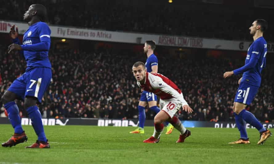 Jack Wilshere celebrates putting Arsenal 1-0 up in their 2-2 draw against Chelsea