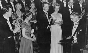 TS Eliot, far right, after receiving the Nobel prize in literature in Stockholm in 1948. Looking on are are members of the Swedish royal family.