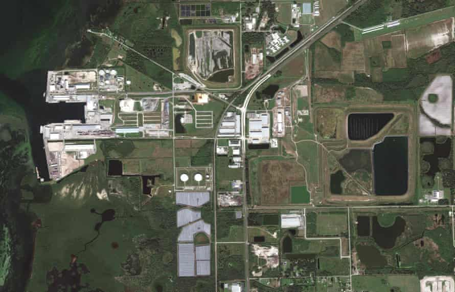 A view of a wastewater holding pond in Piney Point, Florida, in October.