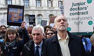 Jeremy Corbyn and John McDonell march with junior doctors in London on Tuesday during a strike over a proposed contract.
