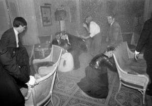 Guests at the Grand Hotel in Brighton after the IRA bomb attack, 12 October 1984