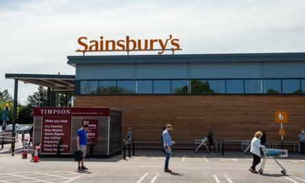 A queue outside Sainsbury's supermarket in Taplow, Berkshire.