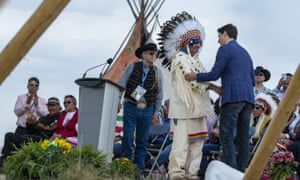 The prime minister spoke at an exoneration ceremony for Chief Poundmaker at the Poundmaker Cree Nation in Saskatchewan.