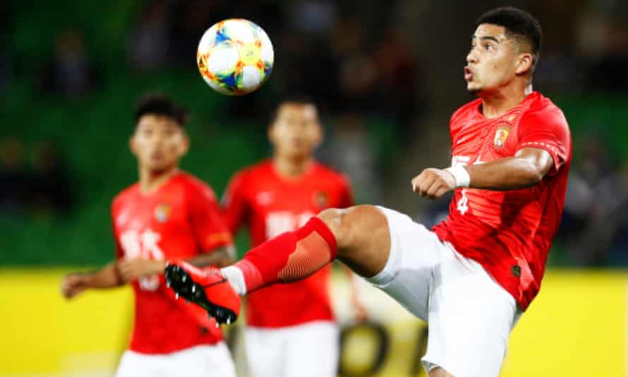 Tyias Browning in action for Guangzhou Evergrande against Melbourne Victory in April.