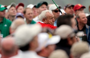 11 April 2013. Honorary starter Arnold Palmer tees off before the first round of the Masters.