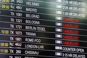 A board shows the status of flights at Istanbul Ataturk on Wednesday morning.