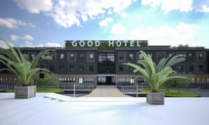 An artist's impression of how the social enterprise hotel, the Good Hotel, will look when it is moored at its London dock. The hotel is a 144-room property built on a large floating platform.