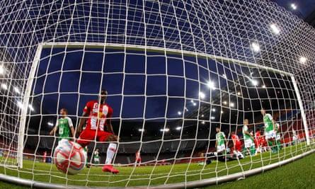 Salzburg's Patson Daka celebrates after Dominik Szoboszlai scored their first goal in Friday's cup final win over Austria Lustenau.