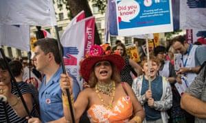 Nurses stage a protest near Downing Street, London, on Thursday.
