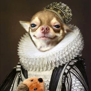 You too can get your pet portrayed with a ruff, robe and stuffed toy.
