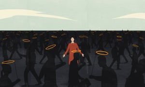 Illustration of woman surrounded by lots of people in shadow with halos