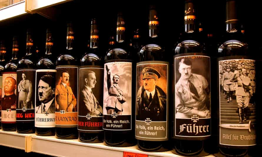 Italian-produced wine on sale in Europe with labels illustrating Hitler.