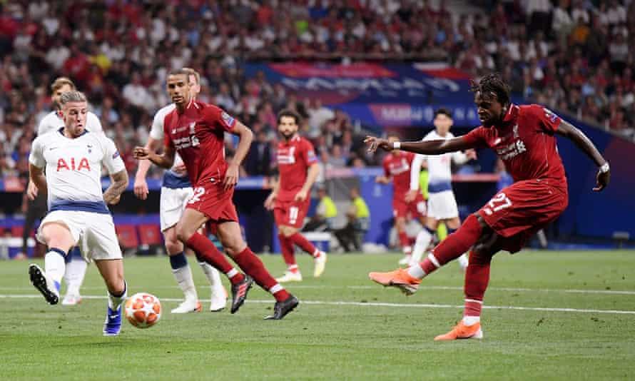 Divock Origi scores Liverpool's second goal against Tottenham at the Estadio Wanda Metropolitano to clinch the 2019 Champions League final