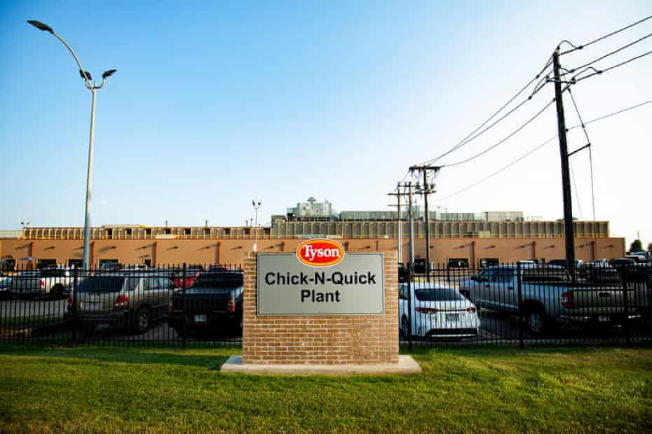 Outside the Tyson Foods Chick-N-Quick processing plant on 30 July 2021 in Rogers, Arkansas.