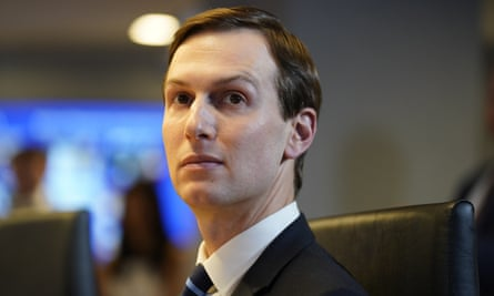 White House adviser Jared Kushner listens during a teleconference with governors at the Federal Emergency Management Agency headquarters on 19 March.