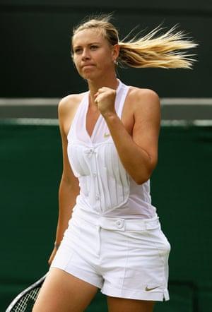 Ladies of Wimbledon: Maria Sharapova celebrates a point during the women's singles in 2008
