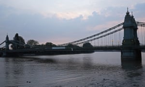 Hammersmith bridge in west London.